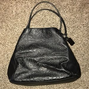 Coach beaded leather tote